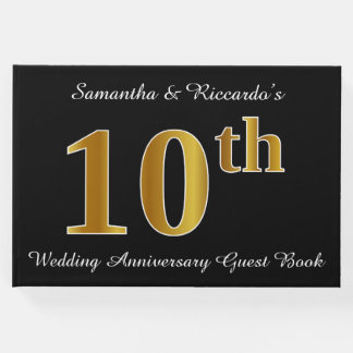 Faux Gold Look 10th Wedding Anniversary + Names Guest Book