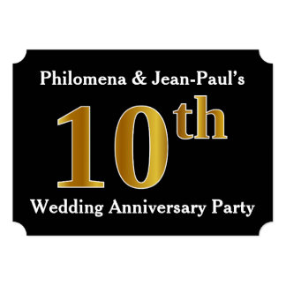 Faux Gold Look 10th Wedding Anniversary Party Card