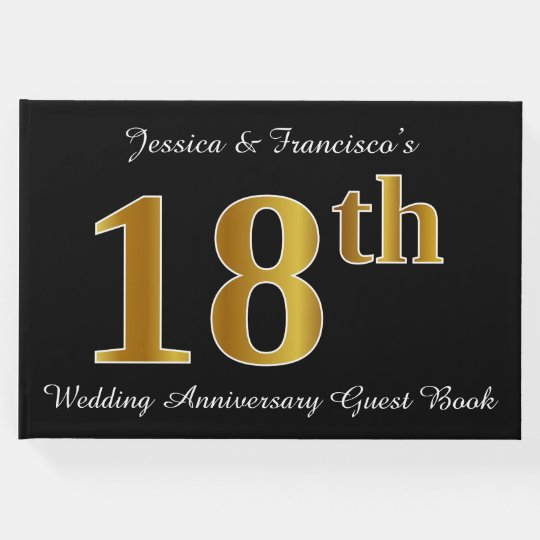 Faux Gold Look 18th Wedding Anniversary + Names Guest Book