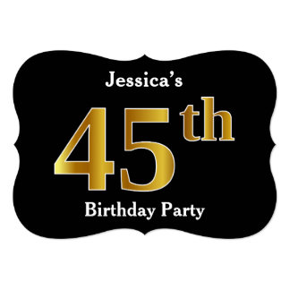 Faux Gold Look 45th Birthday Party + Custom Name Card