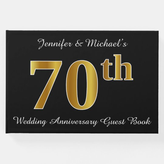 Faux Gold Look 70th Wedding Anniversary + Names Guest Book