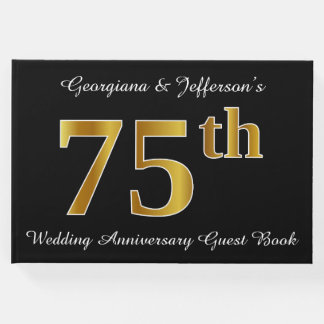 Faux Gold Look 75th Wedding Anniversary + Names Guest Book