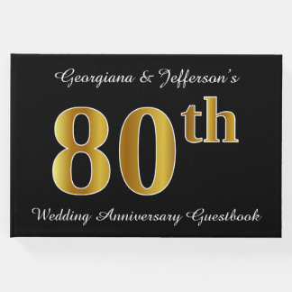 Faux Gold Look 80th Wedding Anniversary + Names Guest Book