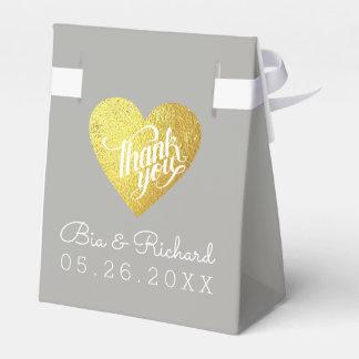 faux gold love heart, thank you wedding favor box