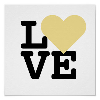 Faux Gold Love Heart Wedding Valentines Day Square Poster