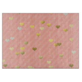 faux gold love hearts pattern, pastel pink stripes boards
