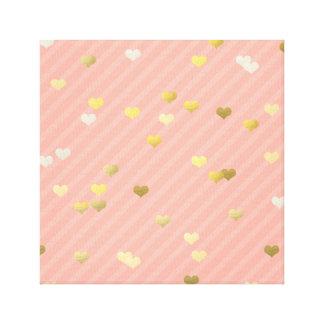 faux gold love hearts pattern, pastel pink stripes canvas print