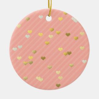 faux gold love hearts pattern, pastel pink stripes ceramic ornament
