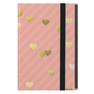 faux gold love hearts pattern, pastel pink stripes cover for iPad mini