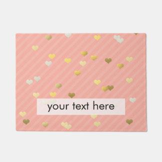 faux gold love hearts pattern, pastel pink stripes doormat