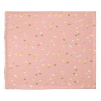faux gold love hearts pattern, pastel pink stripes duvet cover