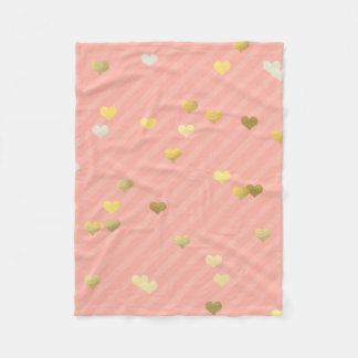 faux gold love hearts pattern, pastel pink stripes fleece blanket