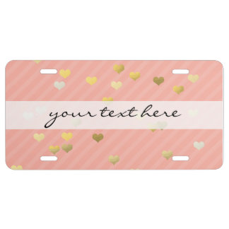 faux gold love hearts pattern, pastel pink stripes license plate
