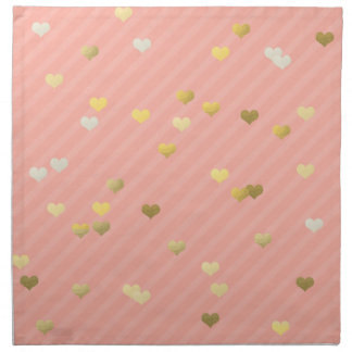 faux gold love hearts pattern, pastel pink stripes napkin