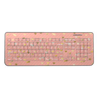 faux gold love hearts pattern, pastel pink stripes wireless keyboard