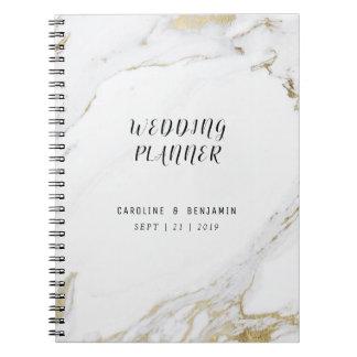 Faux gold marble luxury modern wedding planner spiral notebook