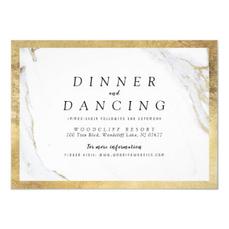 Faux gold marble luxury modern wedding reception card