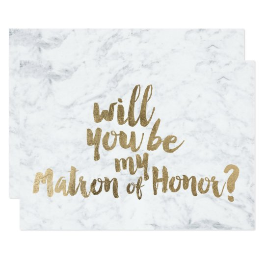 Faux gold marble Will you be my Matron of honour Card