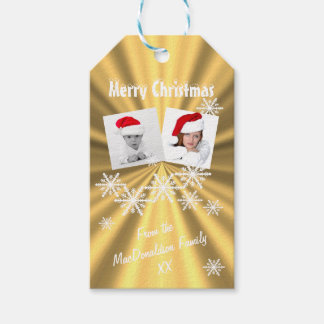 Faux Gold Merry Christmas photo template Gift Tags