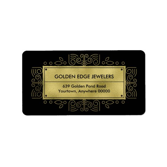 Faux Gold Metallic Black Ornamental Label