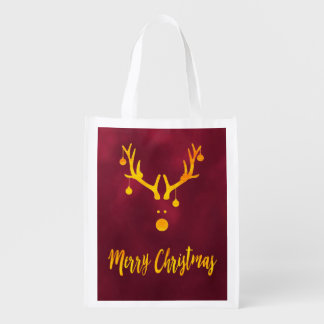 Faux gold minimalist Santa's reindeer in burgundy Reusable Grocery Bag