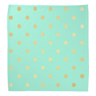 faux gold mint polka dots bandana