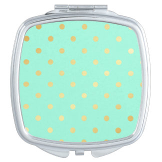 faux gold mint polka dots compact mirrors