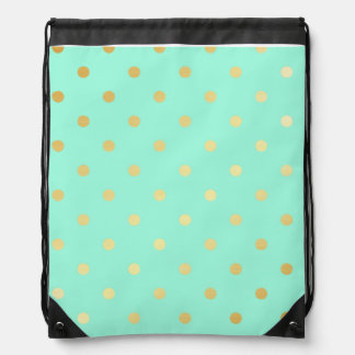 faux gold mint polka dots drawstring bag