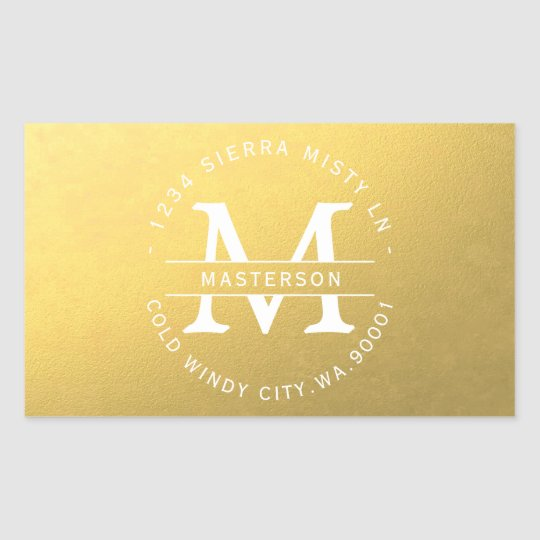 Faux Gold Monogram | Gold and White Sticker