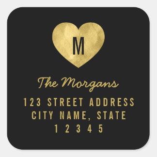 Faux Gold Monogram Heart Family Return Address Square Sticker