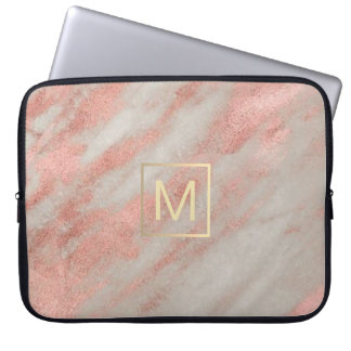 faux gold monogram on rose gold marble laptop sleeve