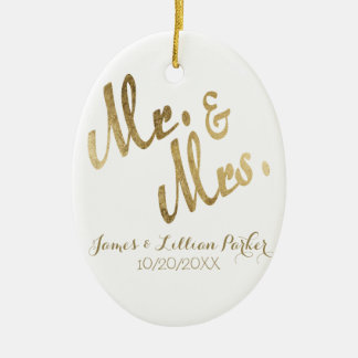 Faux Gold Mr. and Mrs. Monogram Wedding Ceramic Ornament