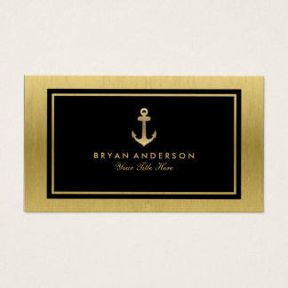 Faux Gold Nautical Anchor Business Card