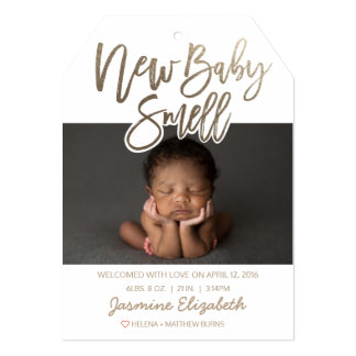 Faux Gold New Baby Smell Birth Announcement