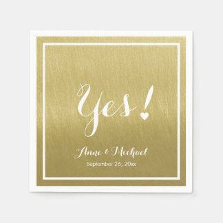 faux gold (ochre) Yes! wedding reception party Paper Napkin
