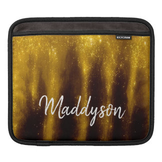Faux Gold Paint And Glitter On Black iPad Sleeve
