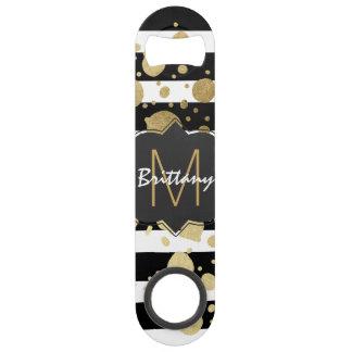 Faux Gold Paint Splatter on Black & White Monogram Bar Key