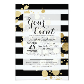 "Faux Gold Paint Splatter on Black & White Stripes 3.5"" X 5"" Invitation Card"