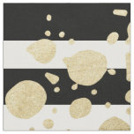 Faux Gold Paint Splatter on Black & White Stripes Fabric
