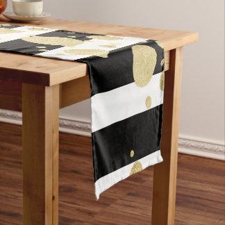 Faux Gold Paint Splatter on Black & White Stripes Short Table Runner