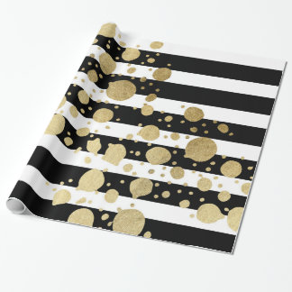 Faux Gold Paint Splatter on Black & White Stripes Wrapping Paper