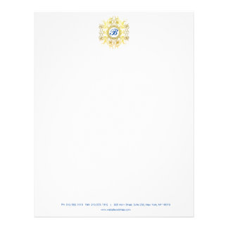 Faux Gold Painted Designer Monogram Letterhead