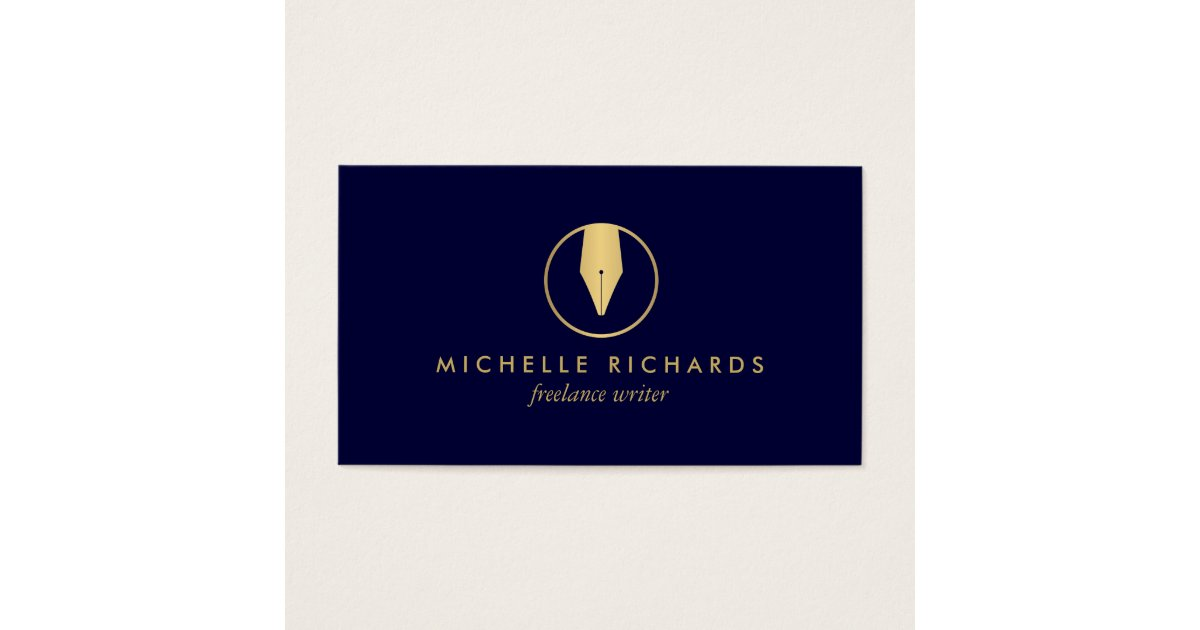 Faux Gold Pen Nib Logo on Dark Navy for Writers Business Card ...