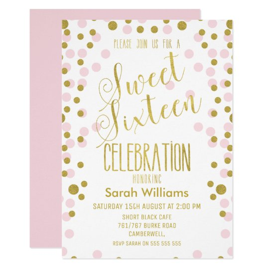 Faux Gold Polka Dot Sweet 16 Birthday Invitation