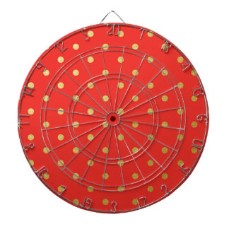 Faux Gold Polka Dots Red Metallic Dartboards