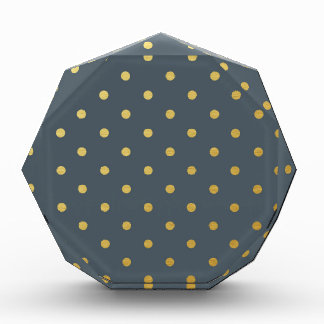 Faux Gold Polka Dots Slate Gray Metallic