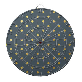Faux Gold Polka Dots Slate Gray Metallic Dartboards