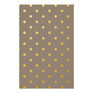 Faux Gold Polka Dots Taupe Metallic Customized Stationery