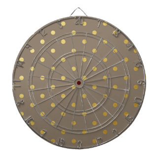 Faux Gold Polka Dots Taupe Metallic Dartboards