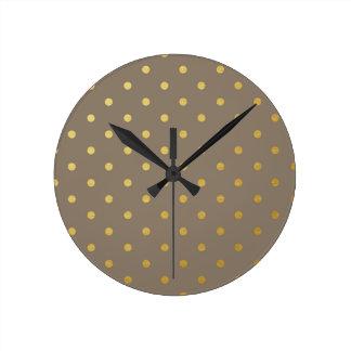 Faux Gold Polka Dots Taupe Metallic Wall Clocks